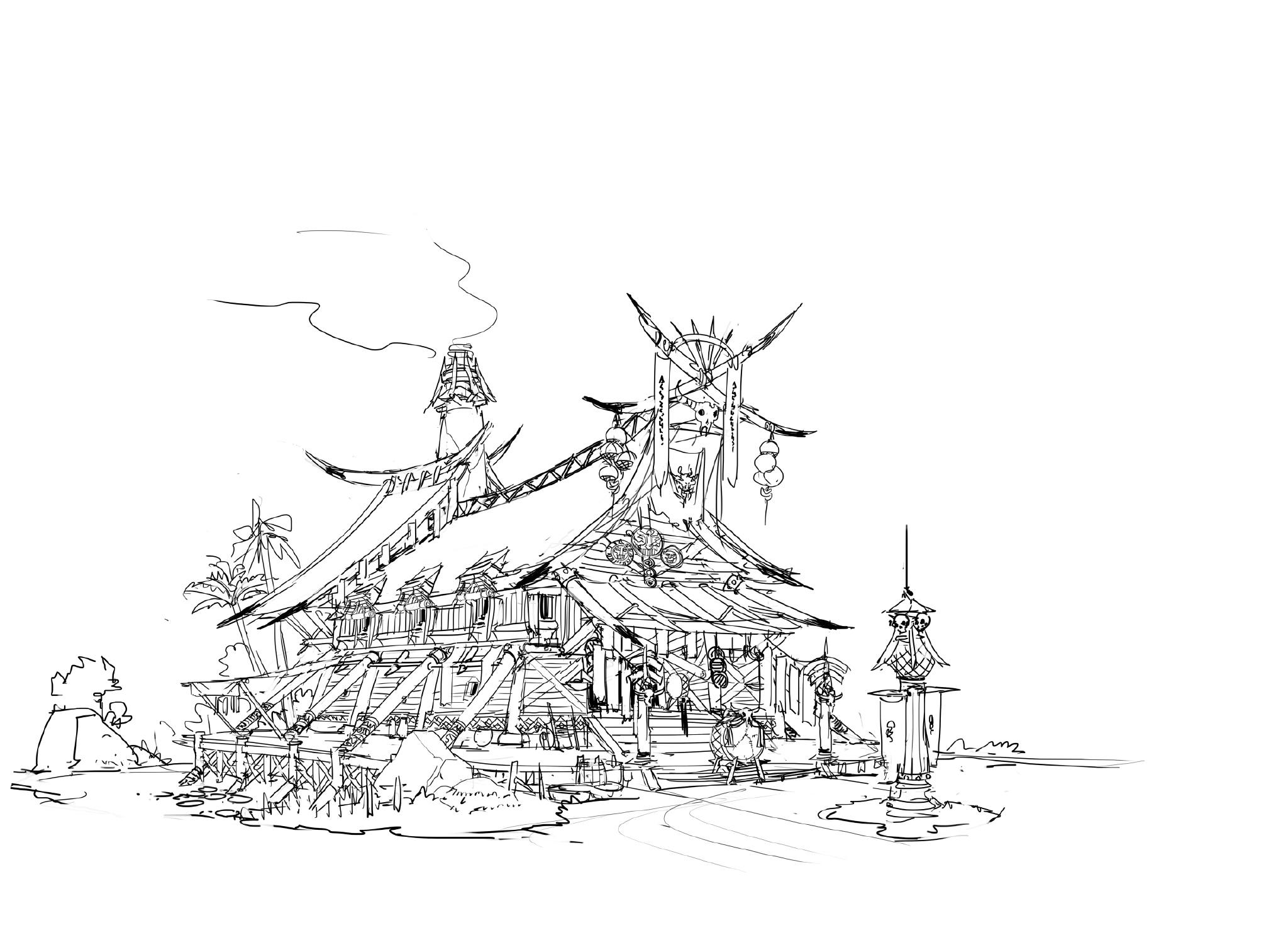 游戏原画场景设计 部落建筑详细过程图1
