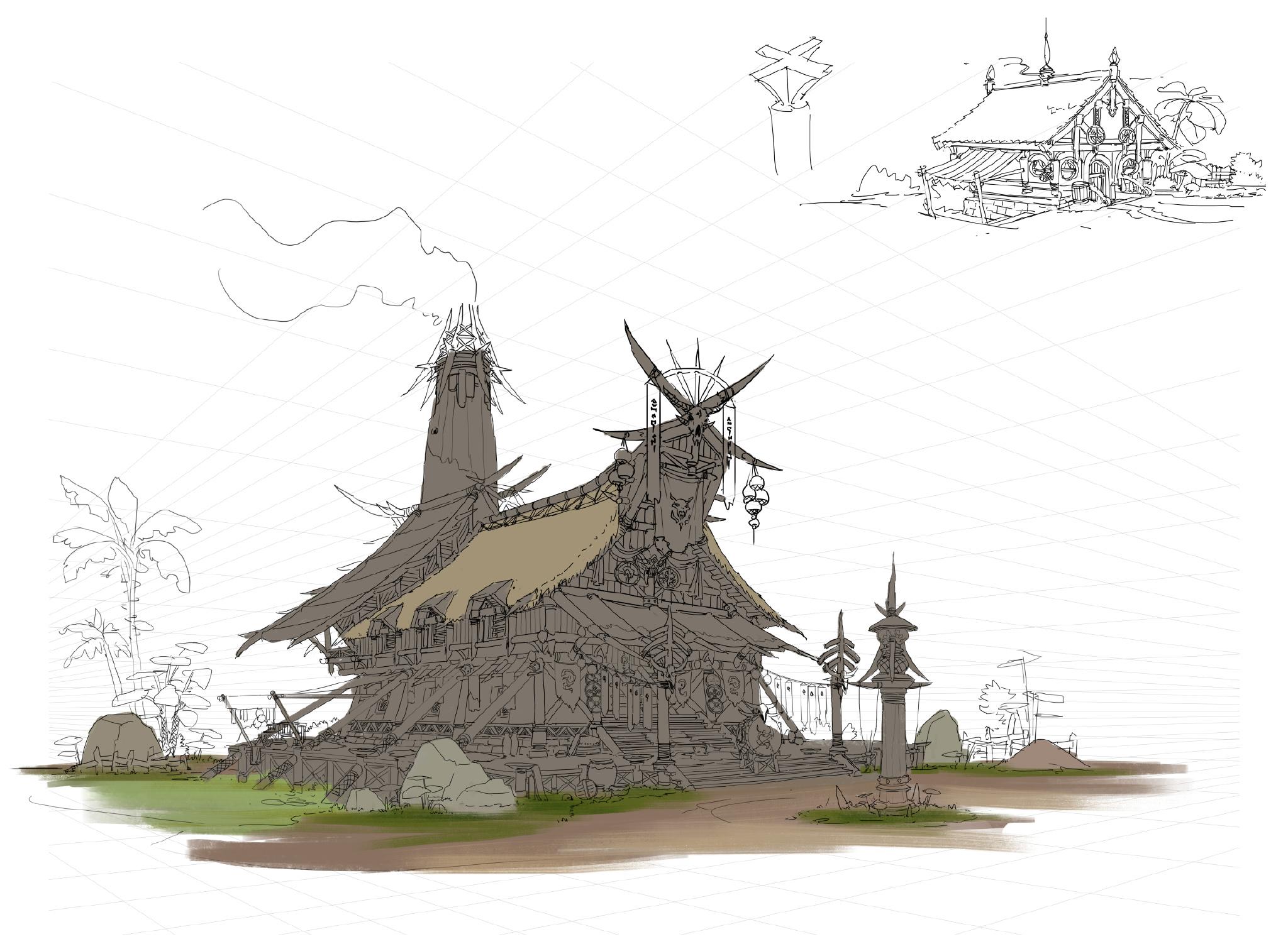游戏原画场景设计 部落建筑详细过程图9