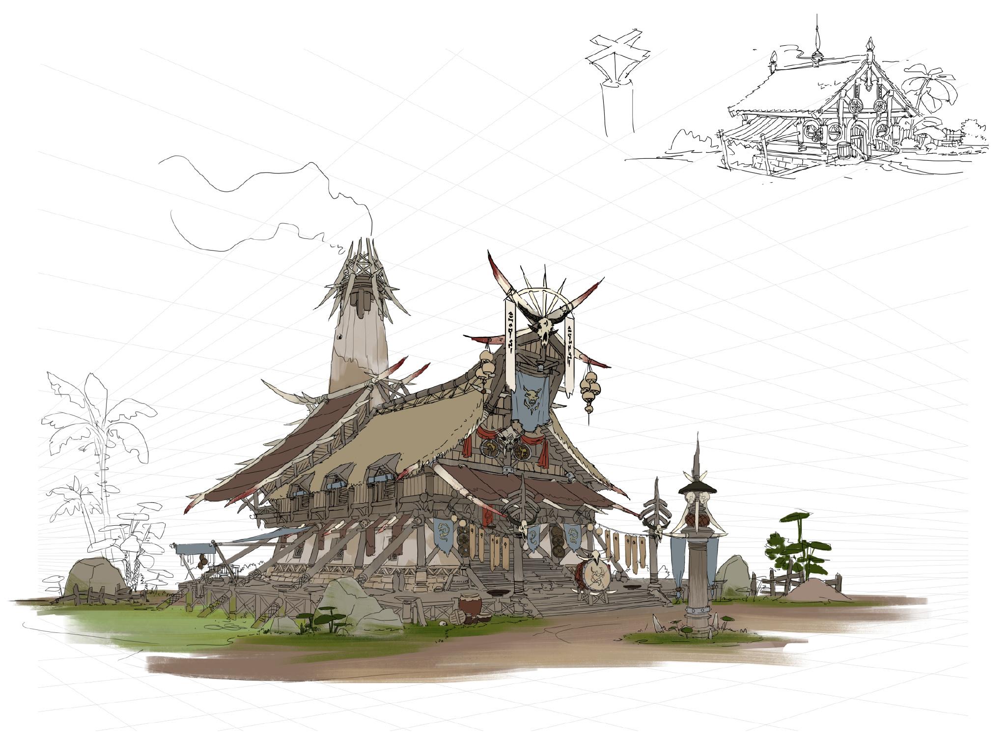 游戏原画场景设计 部落建筑详细过程图8
