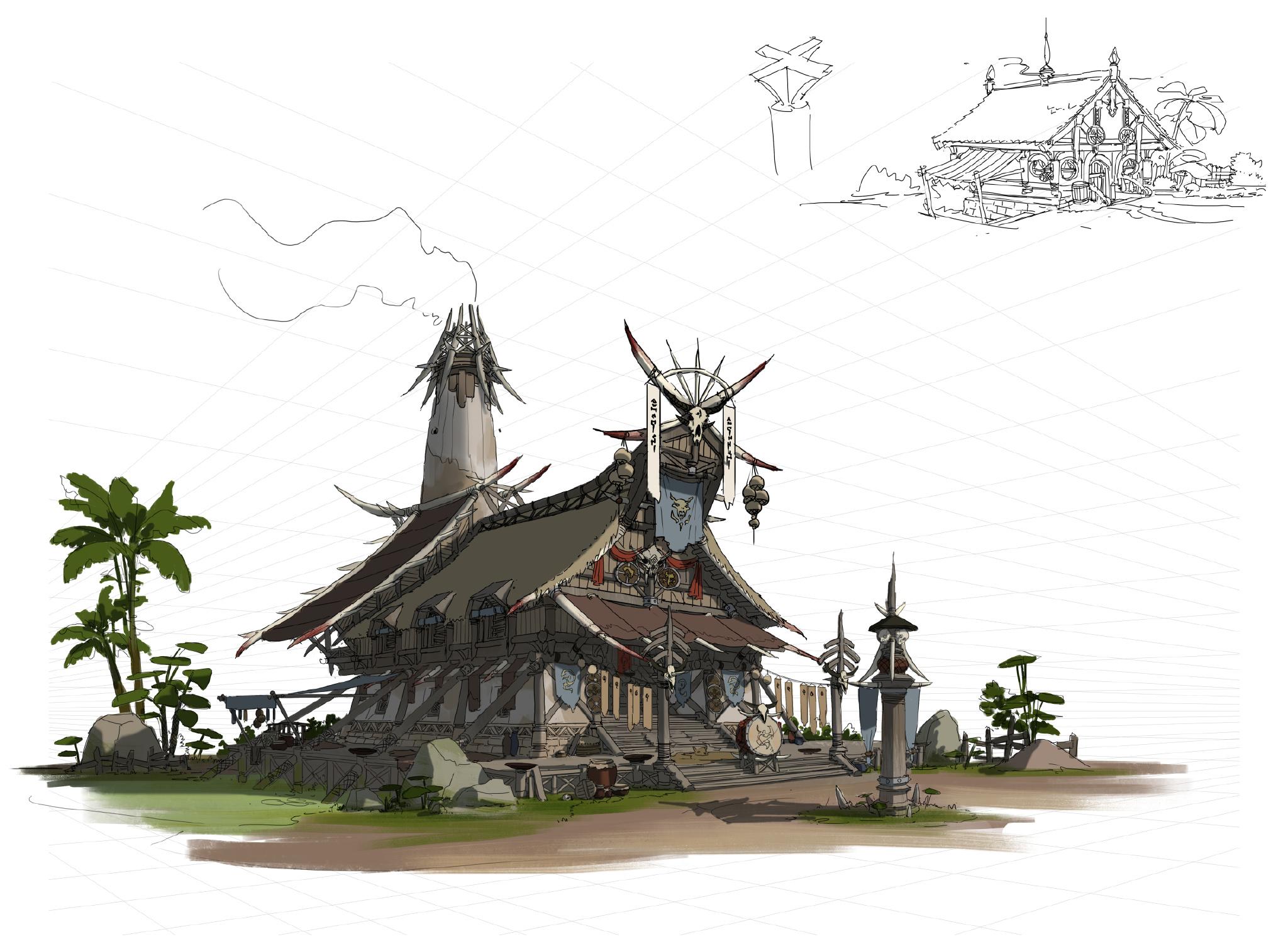 游戏原画场景设计 部落建筑详细过程图7