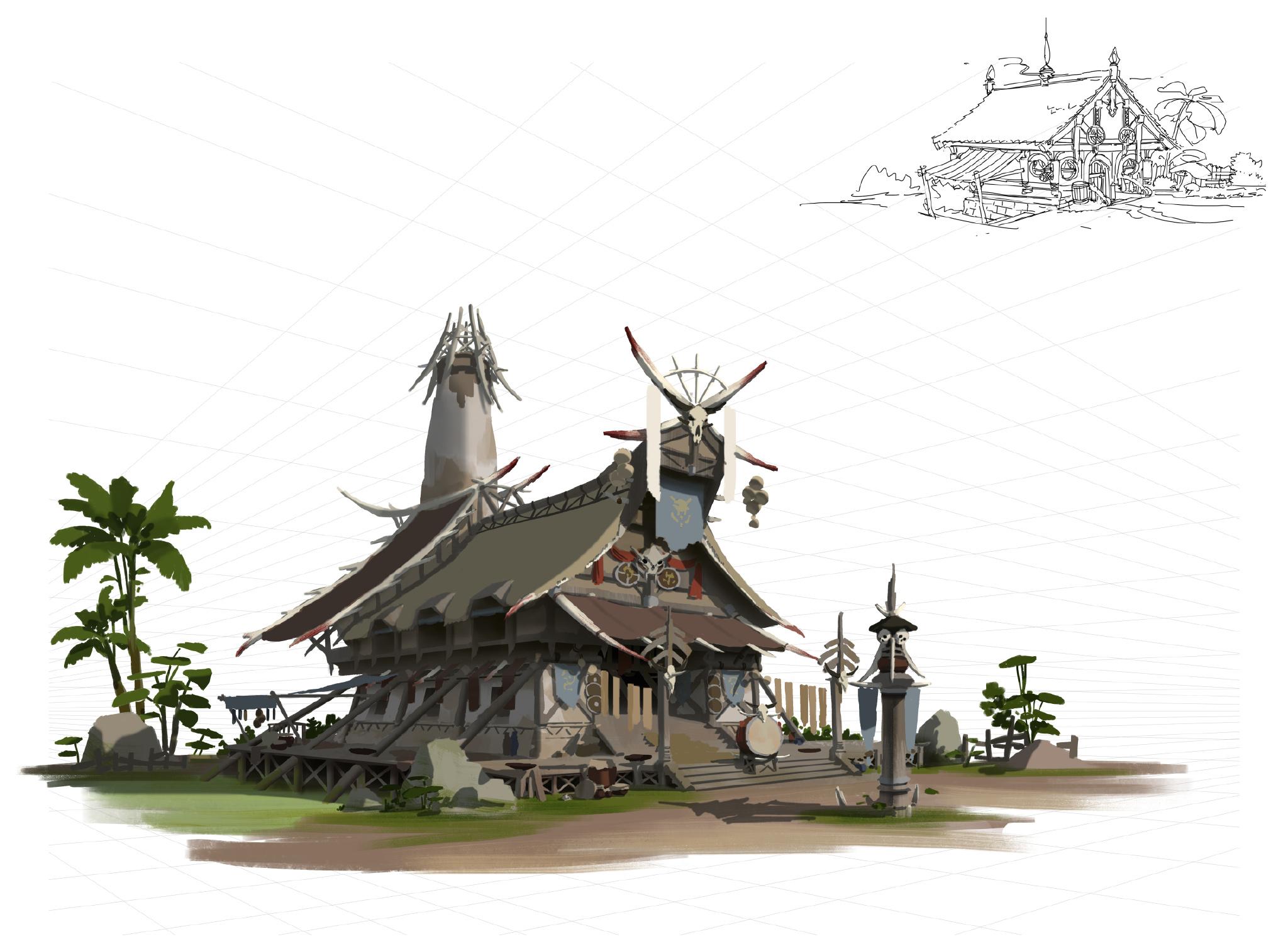 游戏原画场景设计 部落建筑详细过程图6