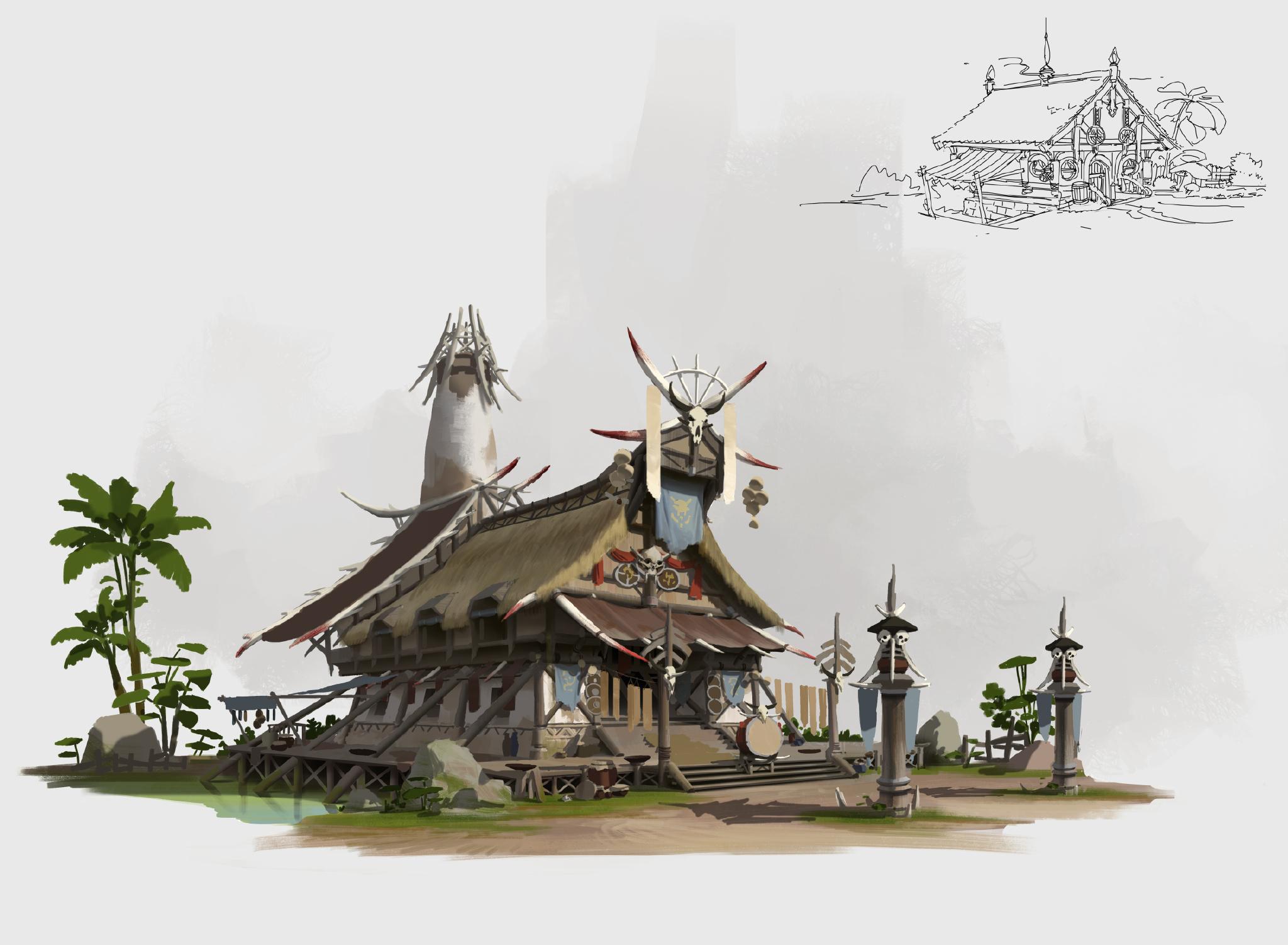 游戏原画场景设计 部落建筑详细过程图5