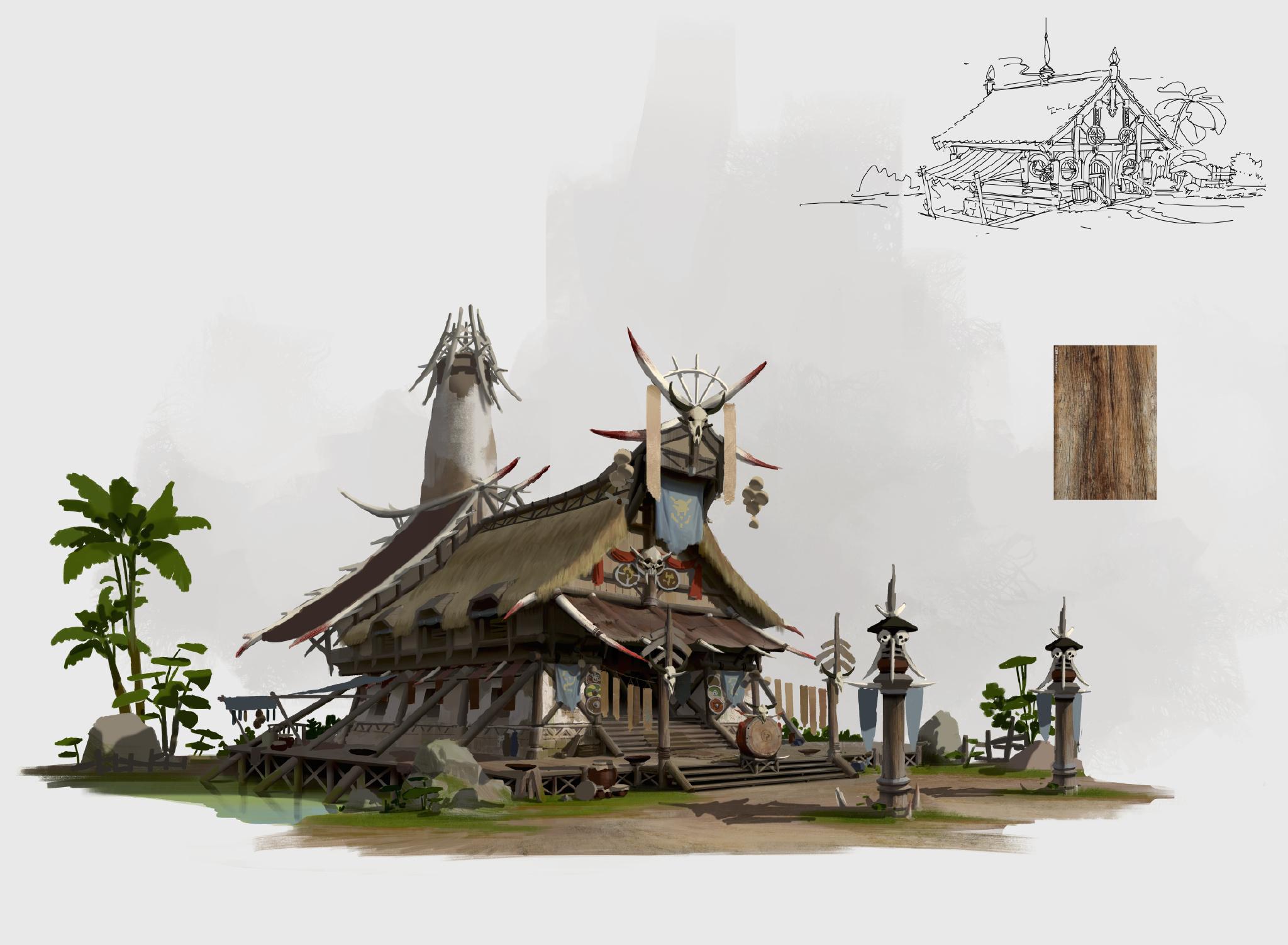 游戏原画场景设计 部落建筑详细过程图4