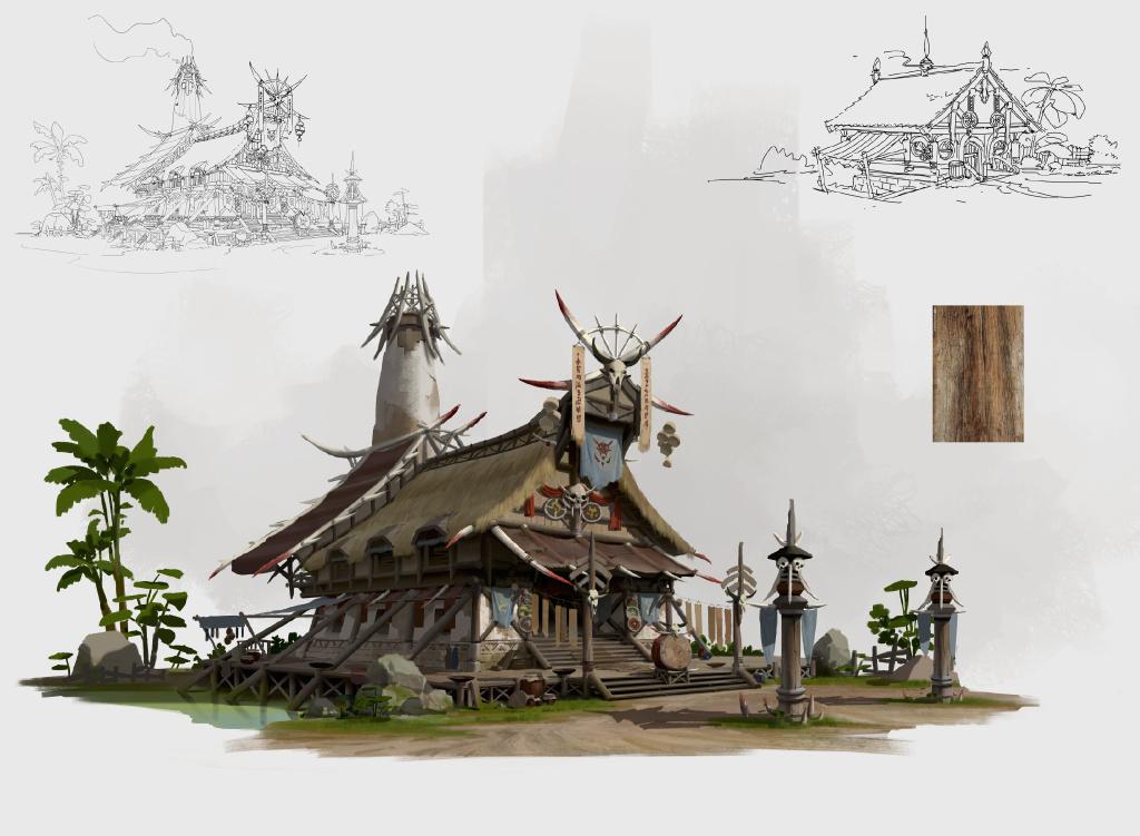 游戏原画场景设计 部落建筑详细过程图3
