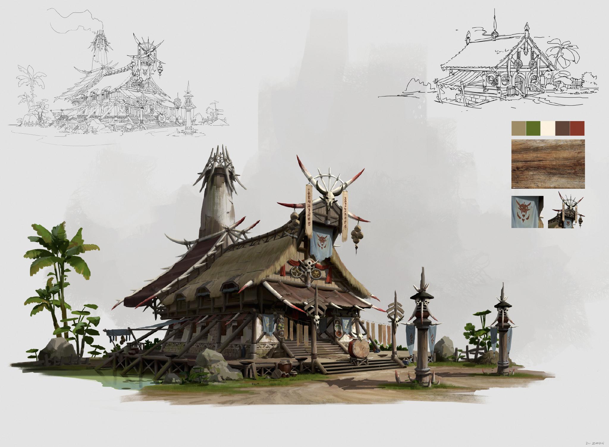 游戏原画场景设计 部落建筑详细过程图2
