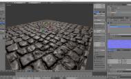 在Blender中通过法线贴图和顶点位移实现石块地面的凹凸感